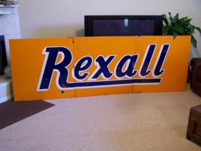 $800, Huge Porcelain Rexall Sign 3 Sections-10 ft. Long