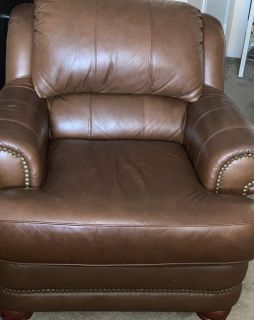 Oversized fluffy genuine leather chair with ottoman