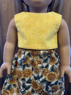 18 Doll outfit, crop top, skirt, handmade to fit like American Girl doll clothing, yellow top, medium sunflower skirt