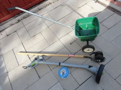 10'' Electric Weed +Lawn Spreader+Lawn Tool+Free 2 New Gutter Scoop,Mower Used 2 Times