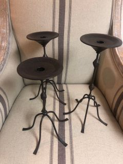 Trio of rot iron candle stick candle holders