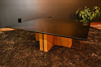 70's Smoked Glass Adjustable Base Coffee Table