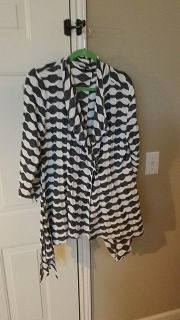 Grey and white button jacket