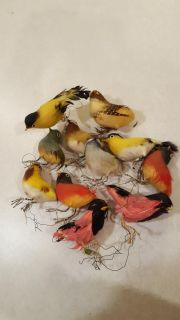 11 Vintage Decorative Birds with Felt and Real Feathers
