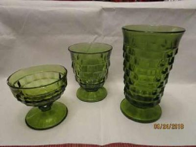 Vintage Green Cut Glass