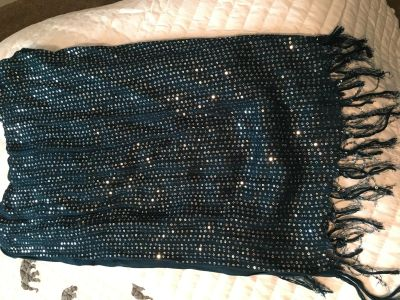 New york and company deep teal sequined scarf