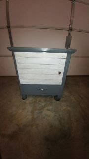 Refurbished Side Table w/ White Washed Barn Door