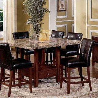 Beautiful Marble & wood square top table & leather chairs dining set, 9 piece brown marble set!!
