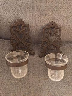Very Nice Iron wall Sconces with clear crystal votives
