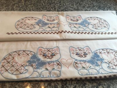 Vintage embroidered cat pillowcases