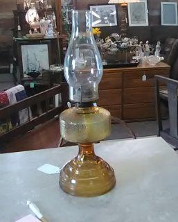 Vintage Amber Hurricane Lamp