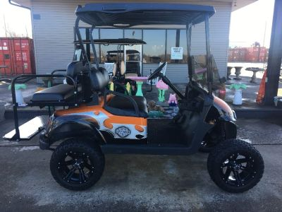 Harley Davidson themed gas lifted golf cart