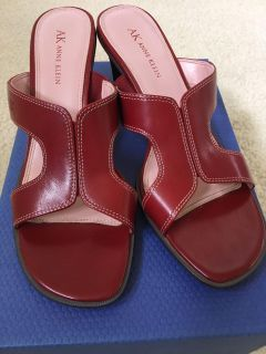 Anne Klein Red Leather Sandal Size 8 M