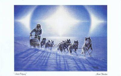 "Dogsled Team - ""Arctic Odyssey"" Art Print - Mona Thrasher, Artist - 1990"
