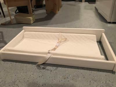 White changing table topper and pad