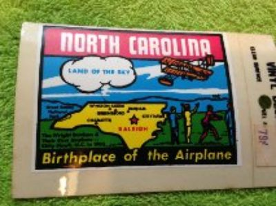 vintage travel decal north carolina Airplane birth