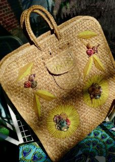 Vintage Wicker Bag Mexico Shopper Tote/Beach Bag