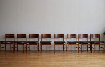 Set of 8 Mid Century Danish Teak Dining Chairs
