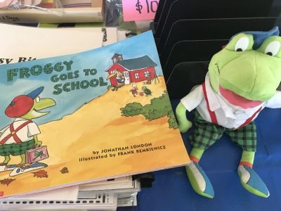 Froggy Goes to School with Froggy stuff toy