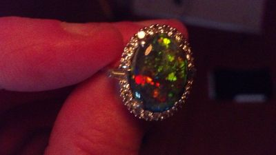 Large Rare Lightning Ridge Australian Black Opal set in Platinum