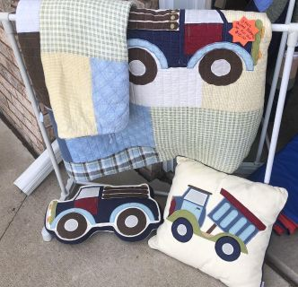 Full size quilted bedding set trains and trucks theme