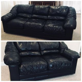 Black ALL LEATHER Couch & Loveseat From HAVERTYS $800.00