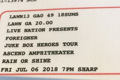 2 Tickets to tonight s concert Foriegner: $40 for both