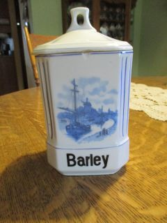 Covered china barley container.