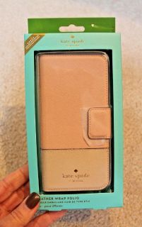 NWT - Kate Spade Leather Wrap Folio iPhone 7s Case, Rose Gold Pink, MSRP $75