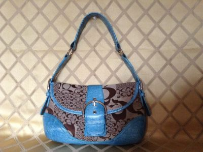 Coach look Shoulder purse blue and gray in canvas and corc embossed leather trim