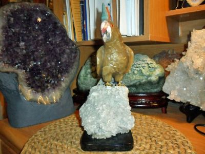 Gorgeous and Exceptional Natural Aragonite Gemstone Cockatoo Bird Sculpture