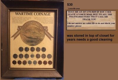 war time coins in frame WWII