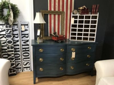 Blue buffet dresser entertainment center serpentine front