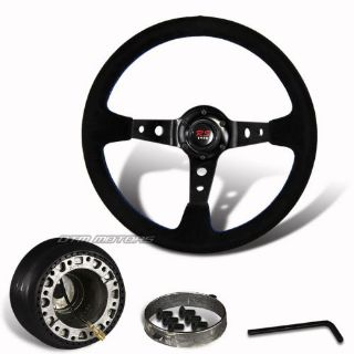 Buy 350mm Black Suede Leather Deep Dish Steering Wheel+Hub For SUBARU IMPREZA LEGACY motorcycle in Rowland Heights, California, United States