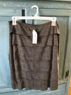 Sophie Max blk/gry strip knit skirt