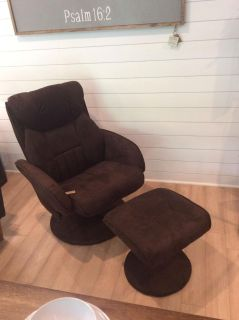 Swivel recliner with ottoman