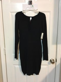 NEW - with TAGS - BLACK SWEATER DRESS. LACE UP FRONT. PICTURE BELOW. SIZE XL. WILL FIT LARGE AS WELL.