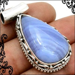 New - Blue Lace Agate 925 Sterling Silver Pendant (Includes a chain)