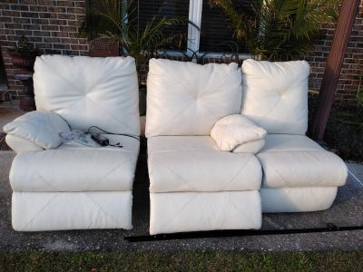 White couch has some wear on it see pics its apart in three pieces. Super comfy!