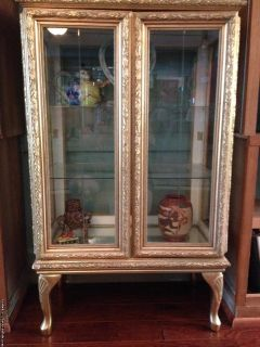 Gilded Gold Curio Cabinet & Office Cabinet