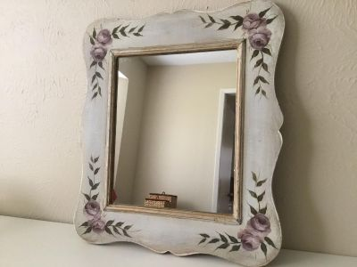 Beautiful Vintage Hand-Painted Hanging 17 x 15.5 Wall Mirror