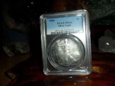 Beautiful 1994-P American Silver Eagle MS 66 PCGS Rainbow Tone on Both Sides
