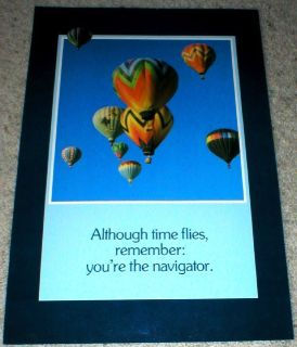 """Although Time Flies…"" - Hot Air Balloons Vtg Poster - 1986 -Unframed  14"" x 21"""