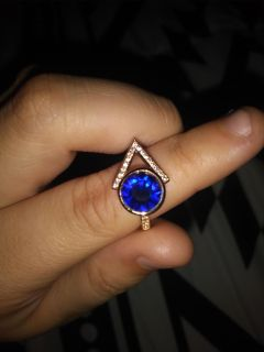 Blue and gold color gemstone ring