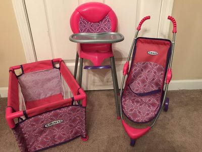 3 Piece Graco Doll Play Set: Highchair, Pack and Play, Stroller