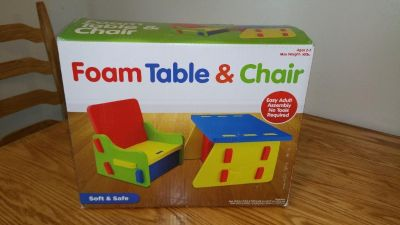 foam chair and table