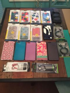 Phone cases, ear buds and usb cables, NIP