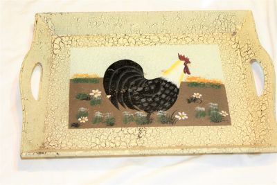 Country Farm Rooster Chicken Crackled Tray Serve Serving Wall Kitchen Home Decor