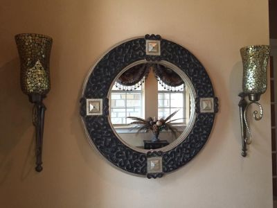 Mirror and 2 Sconces