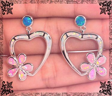 New - White, Pink and Blue Fire Opal Heart Earrings
